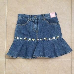 NWT Gymboree Blue Jean Skirt w/ floral Floral Embr